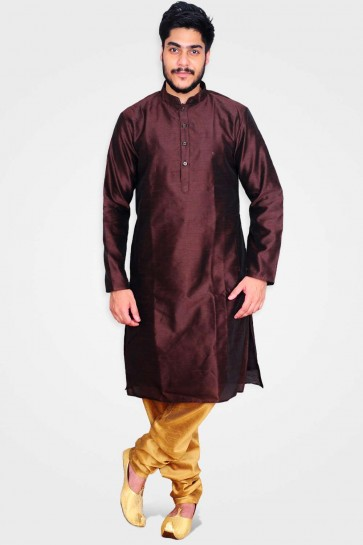 Dark brown Art silk Men Kurta