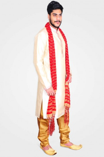 Cream Art silk Men Kurta