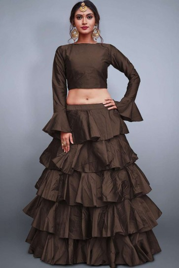 Brown Silk Lehenga Choli