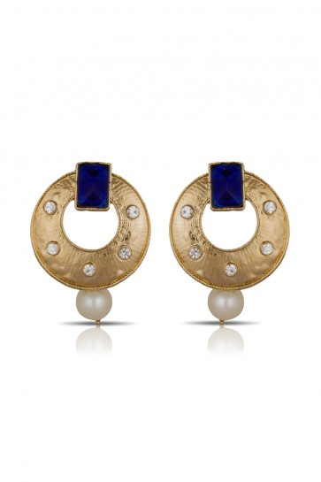 Stones Golden & Blue Earrings