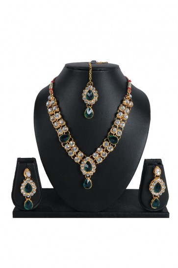 American Daimons,Stone Golden, Green & White Necklace Set