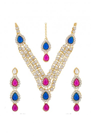 American Diamond And Stone Blue, Pink & Golden Necklace Set