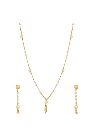 Pearls White & Golden Necklace Set
