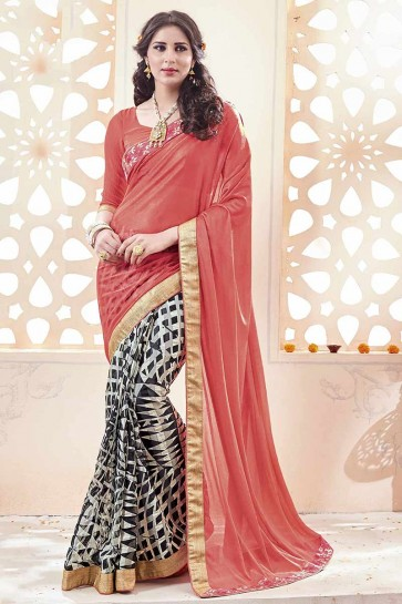 Peach, White, Black Geogette, Chiffon Saree