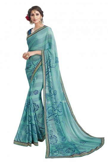 Sea Blue Chiffon Brasso Saree