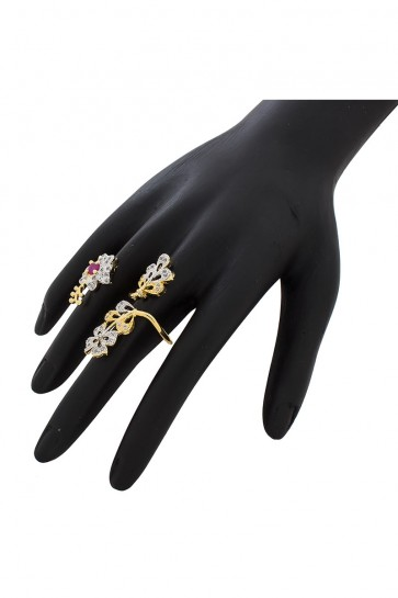 American Diamond & Stone Golden, Silver & Pink Ring