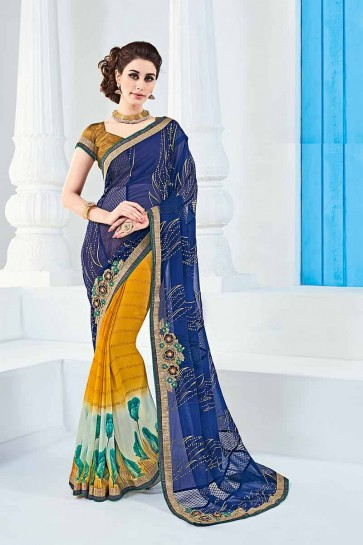 Blue & Yellow Georgette Saree