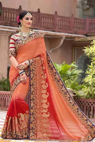Peach, Red Moonga Silk Saree