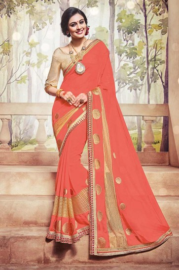 Dark Old Rose Pink Georgette Saree
