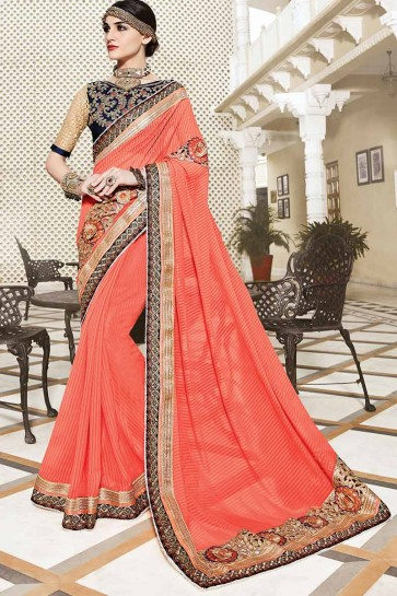Pastel Orange Georgette Saree