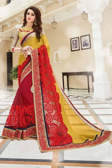 Red , Yellow Georgette Saree