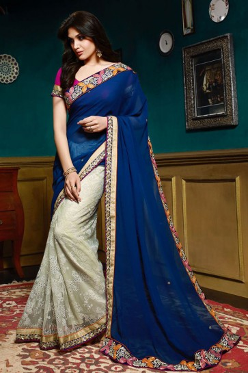 Blue , Off White Georgette , Net Saree