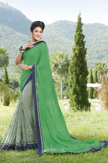 Green Georgette , Silk Saree