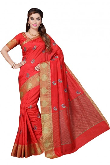 Dark Red Raw Silk Saree