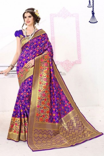 Multi Banarasi weaving Silk Saree