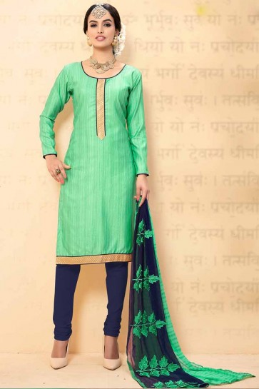 Sea Green Chanderi Churidar Suit