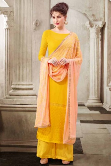 Mango Yellow Georgette Palazzo Suit