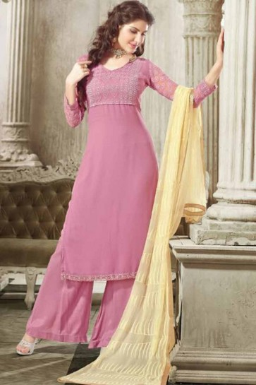 Baby Pink Georgette Palazzo Suit