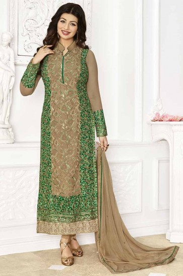 Chikoo Georgette Churidar Suit