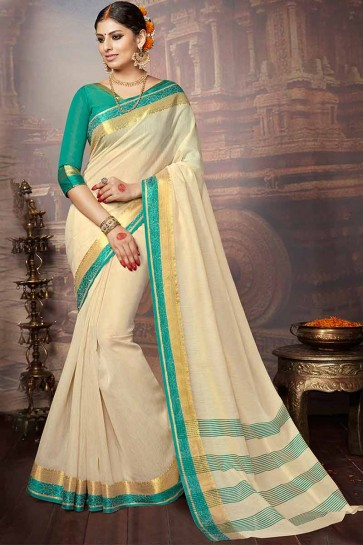 Cream Khadi Silk Saree