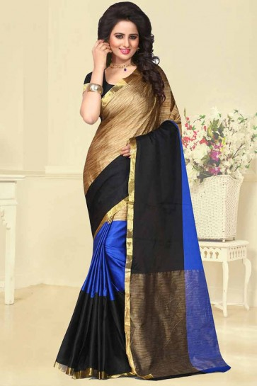 Blue,Black & Golden Cotton Silk Saree