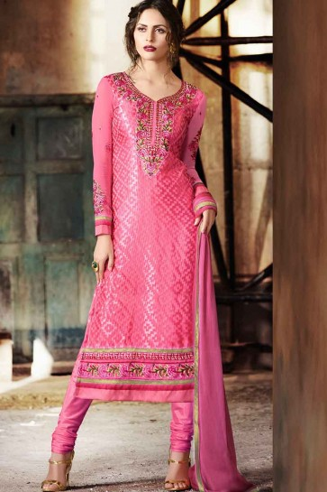 Pink Georgette Brasso Churidar Suit