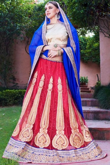 Corel Red Net Lehenga Choli