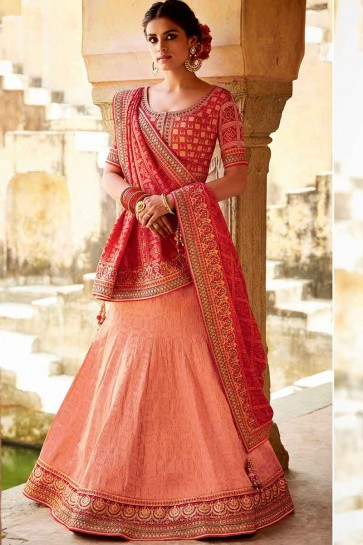 Light Peach Silk Jacquard Lehenga Choli