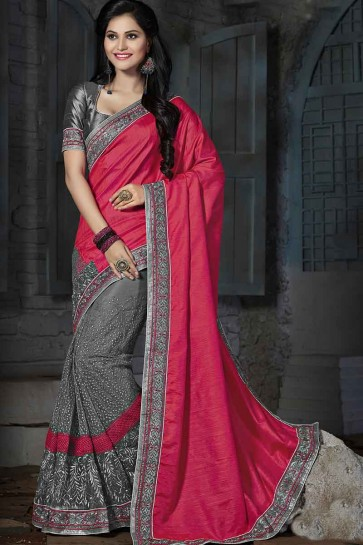 Pink & Grey Silk & Net Saree
