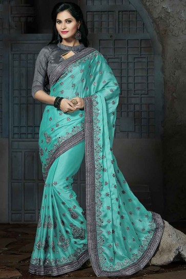 Aqua Blue Satin chiffon  Saree