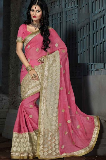 Pink & Cream Chiffon  Saree