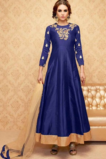 Navy Blue Banglori Silk Anarkali Suit