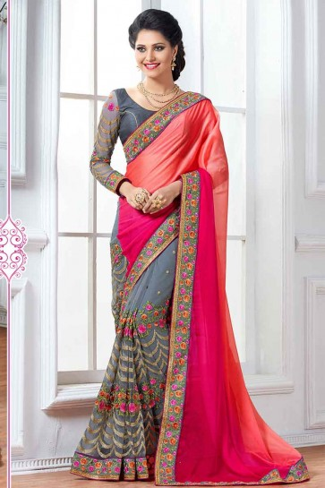 Pink,Peach & Grey Chiffon & Net Saree
