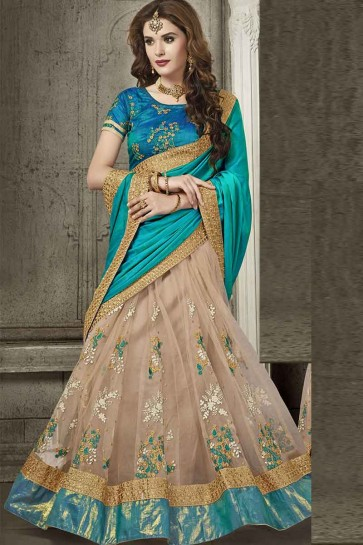 Teal Green  And Beige Silk And Net Saree