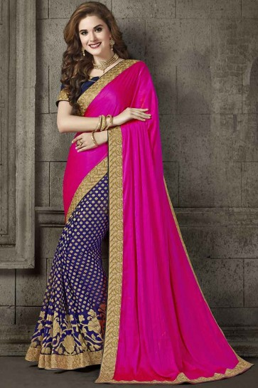 Rani Pink And Navy Blue Silk And Viscose Saree