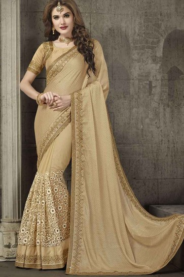 Beige Chiffon And Net Saree