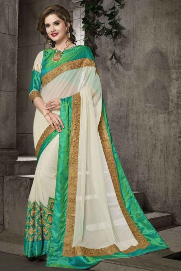 Off White Moss Georgette Saree