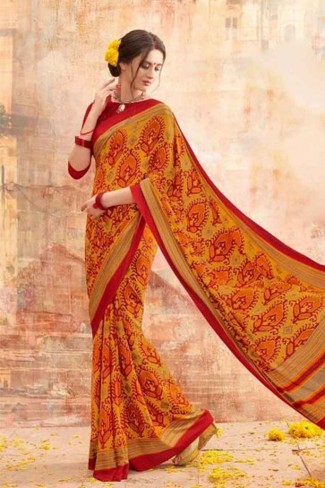 Mustard & Red Silk Crepe Saree