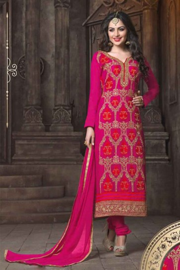 Rani Pink Georgette Churidar Suit
