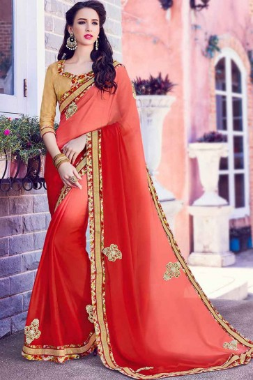 Peach And Red moss chiffon Saree