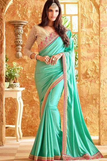 Sea Green Silk Saree