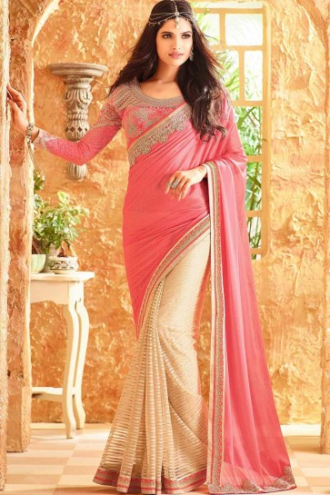 Cream & Pink Luster Silk & Fancy Net Saree