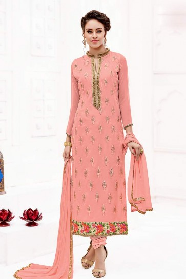 Peach color Georgette Churidar Suit