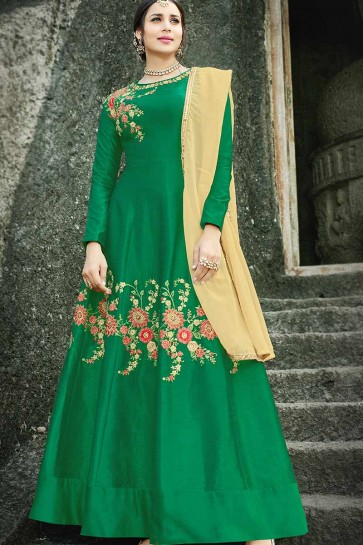 Green color Art Silk Anarkali Suit