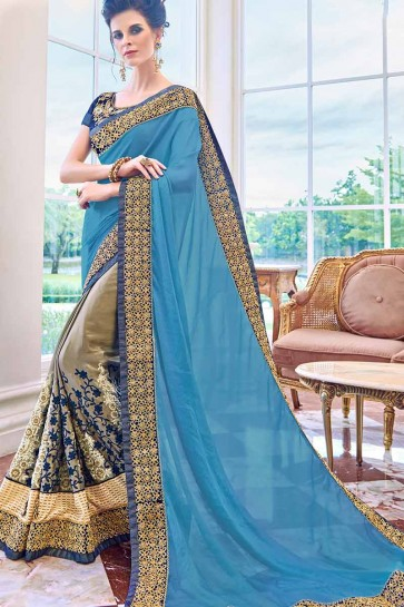 Blue & Grey color Chiffon & Georgette Saree