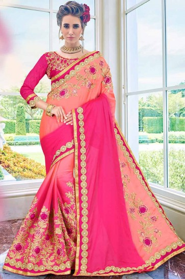 Peach & Fuschia Pink color Crepe Silk Saree