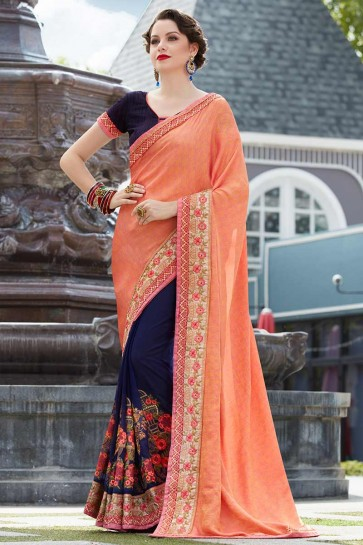 Orange & Navy Blue color Jacquard Silk & Georgette Saree