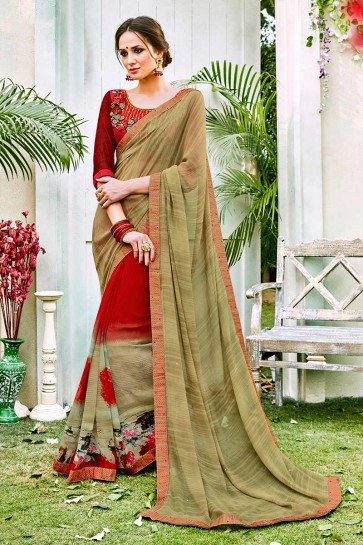 Mint Green & Red color Georgette Saree