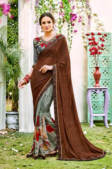 Brown & Grey color Georgette Saree
