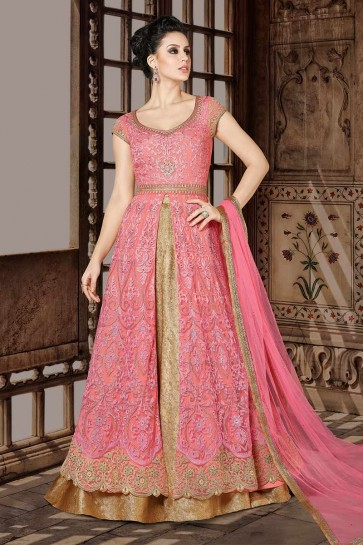 Pink color Net Anarkali Suit